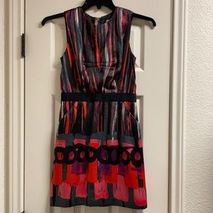Milly of New York silk fitted mini dress art paint